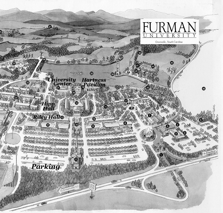 furman university campus map Maps furman university campus map
